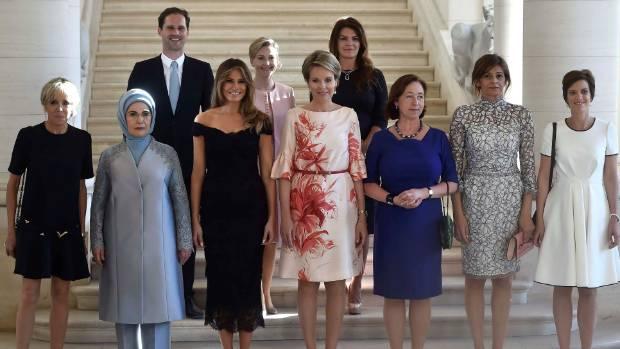 France's first lady Brigitte Trogneux, Turkey's first lady Emine Erdogan, Luxembourg's Gauthier Destenay, US first lady ...
