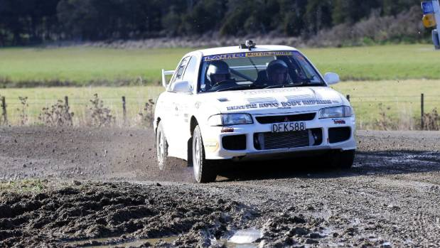 Catlins Coast Rally winner Andrew Graves with his co-driver Jared Leebody, both of Gore, competing in the Mitsubishi Evo 3.
