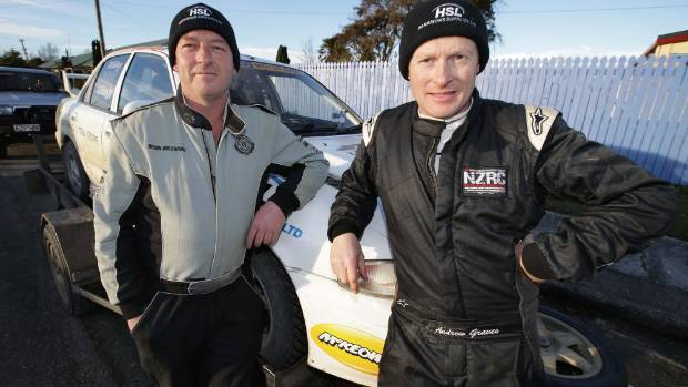 Catlins Coast Rally winner Andrew Graves, right, with his co-driver Jared Leebody.