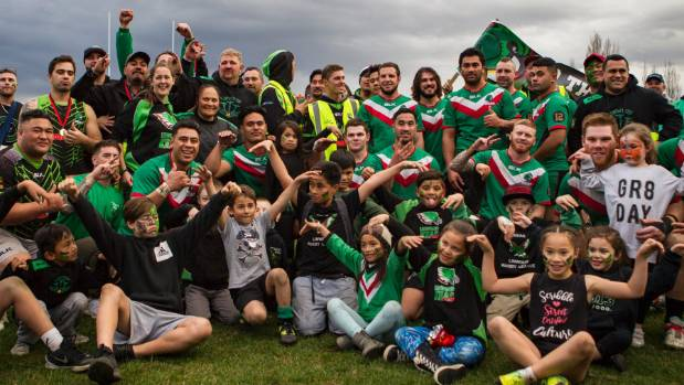 Kea Kaha: The Linwood Keas celebrate their second successive Canterbury rugby league title victory.