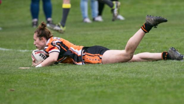Papanui Tigers fullback Stacey Hildreth goes over in the corner .k.