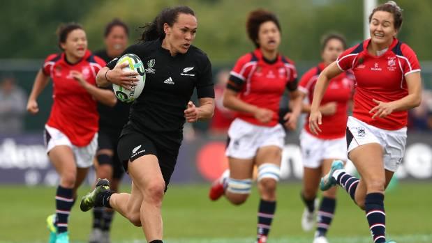 Black Ferns wing Portia Woodman left Hong Kong defenders chasing her shadow all game long.