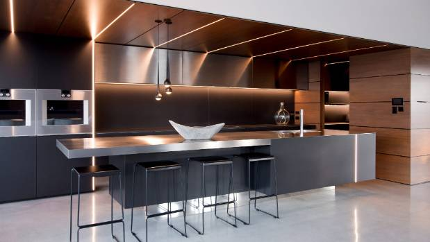 Designed Kitchens. This new kitchen designed by Glen Johns of New Plymouth is the NKBA Supreme Kitchen  Design award goes to sleek minimalist design