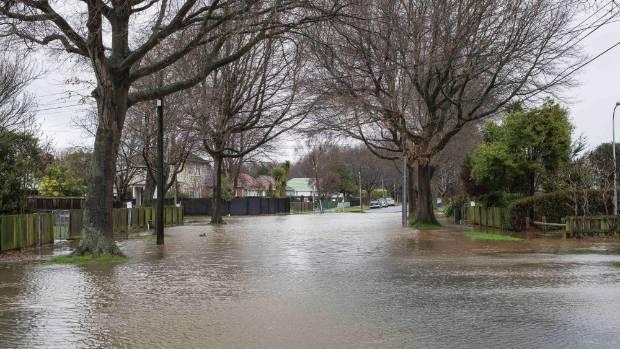 Flooding on Emmett St in Christchurch.