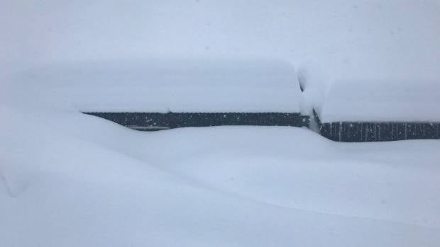 An office at Mt Hutt has almost completely disappeared after the heavy snow dump overnight.