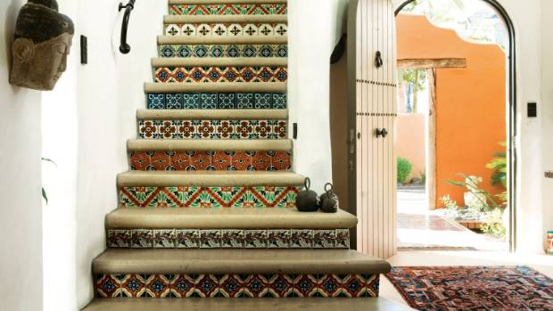 The stairs in the Spanish-inspired Mt Maunganui home of Sue and Grant Seagar feature colourful tiles from Tijuana, ...