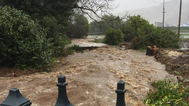 Akaroa floodwaters on Monday.
