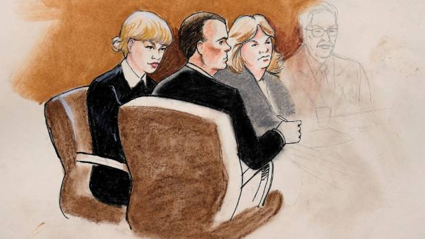 A sketch of Taylor Swift and her attorneys in Denver Federal Court during the Swift groping trial in the US.