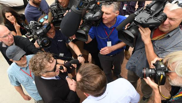 DJ David Mueller's former employer, Eddie Haskell, speaks to the media after he testified atduring fourth day of the ...