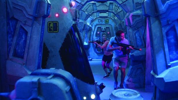 The laser tag is themed as an abandoned space station.
