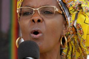 """Grace Mugabe, pictured in 2015, is accused of """"whipping: a South African model with an electric extension cable."""