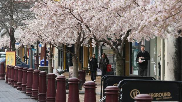 Esk St, soon to blossom again, but lately a haunt for beggars.