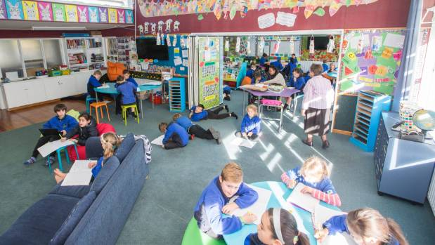 Room 5/6 at Whitney Street School is an open-plan classroom that transforms two classes into one space.