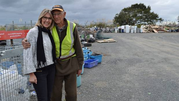 Helensville Community Recycling Centre site manager Treena Gowthorpe with 91-year-old volunteer Ken Purchase.