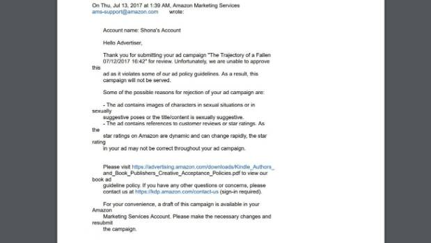 Emails Amazon sent to Moller, outlining why it rejected an advertisement for her new novel.