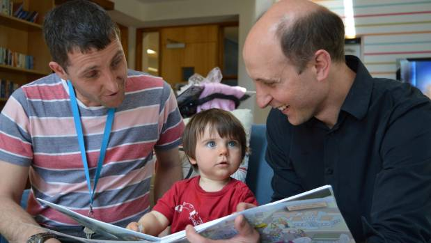 Toddler Benjamin Gaffney, pictured earlier this year, looks at Christchurch - Our Underground Story with dad David, ...