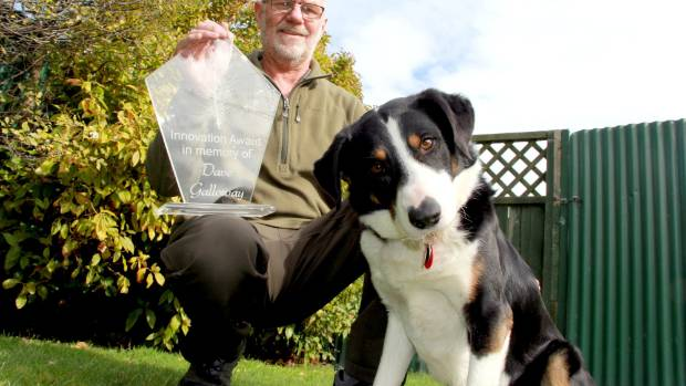 Dog handler John Taylor with his border collie Rusty, after winning the 2017 Dave Galloway Innovation Award for bio ...