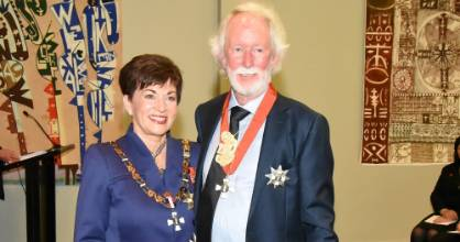 Sir Graeme Dingle was knighted for his services to youth at Government House in Auckland.