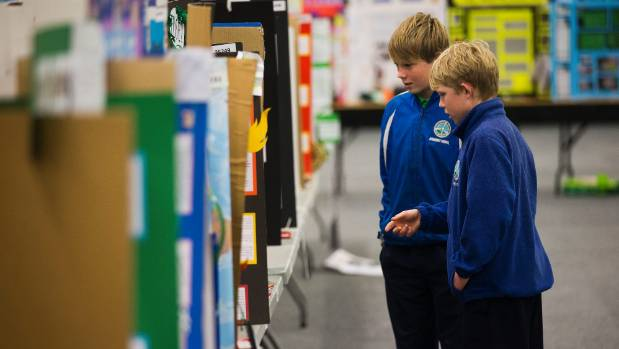 Jonah Ackerman, 12 and Max Miller, 12, from Ashhurst school check out some of the exhibits at the Manawatu Science and ...