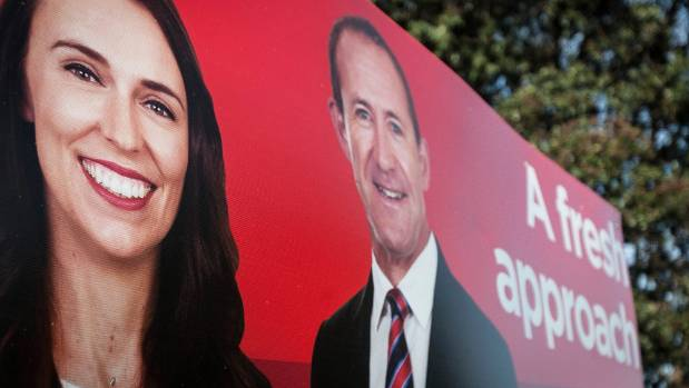 Labour's previous billboards featured Ardern, Little, and the slogan 'A fresh approach'.