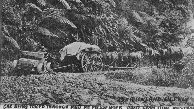 Horses were often used to drag vehicles through the thick mud in winter.