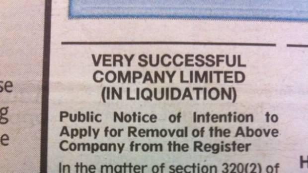 Very Successful Company calls in liquidators