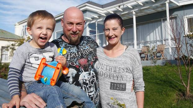 Zane, 2, and his parents Chris and Krystal Fahey are grateful to Timaru residents for their support following a house ...