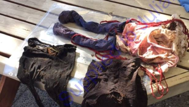 The three leggings found by Alan Ford in the Whangamata Forest. All items were destroyed by police.