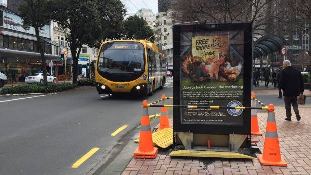 One of three new digital advertising boards in Wellington's Lambton Quay. In 2015, a coroner raised fears about such ...