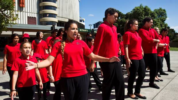 Mana Tamariki students perform at a public march in 2013.
