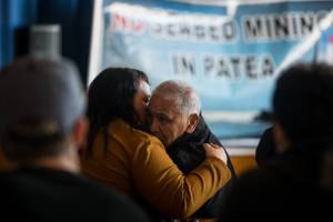 Patea resident Hemi Ngarewa is hugged by his daughter Debbie Ngarewa-Packer after the decision to allow seabed mining in ...