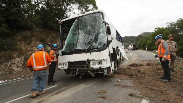 The bus was severely damaged.