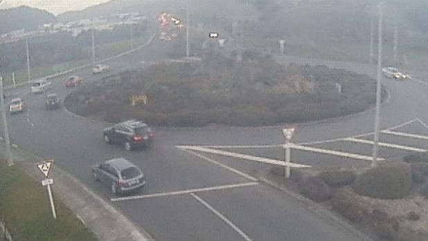 Traffic at the Plimmerton roundabout on State Highway 1 about 5.30pm. NZTA is warning of 40-minute delays in the area.