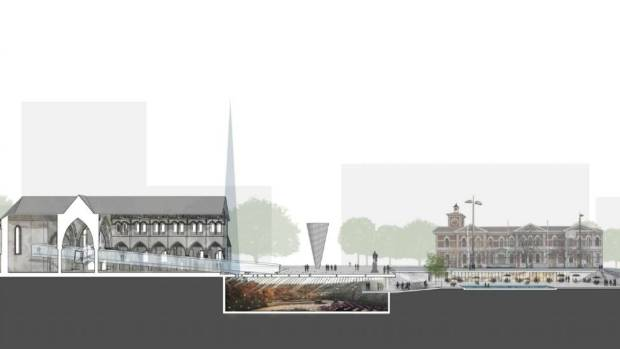A cross-section of how an underground cathedral could look, alongside a preserved ruin of the old building.