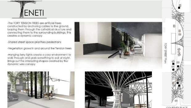 Tension trees, artificial tress anchored to the ground using cables, has featured in this design named, Teneti.