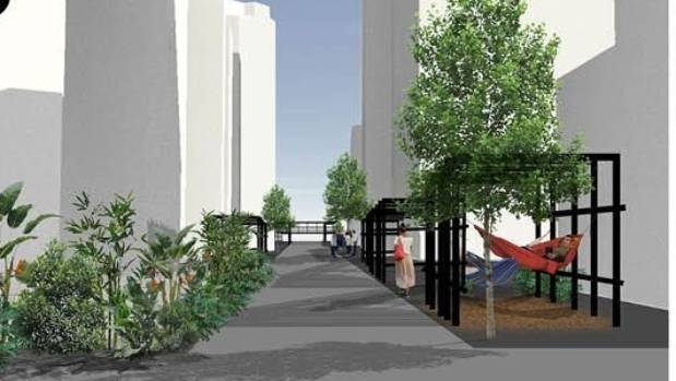 How about putting lower Tory St on stilts? This design explores the possibility.