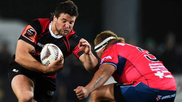 Canterbury player Ben Funnell on the charge.