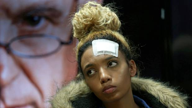 Gabriella Engels who claims to have been assaulted by Grace Mugabe looks on during a news conference in Pretoria