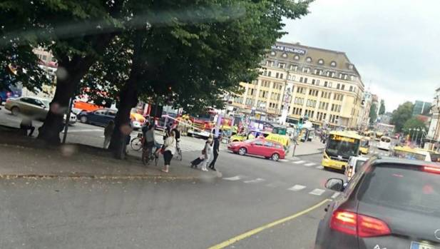 A cell phone picture from Turku Market Square, where several people were stabbed.