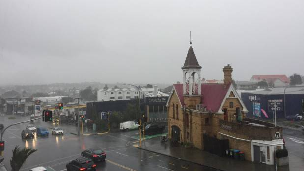 Auckland received a hefty drenching of rain and hail, as seen from Williamson Avenue in Ponsonby.