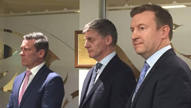 Prime Minister Bill English flanked by ministers, Michael Woodhouse, left, and Dr Jonathan Coleman while in Dunedin on ...