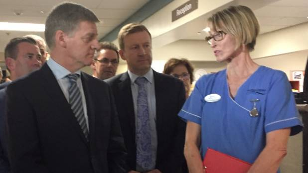 """National Party leader Bill English, who visited Dunedin Hospital on Saturday, says those who make """"smaller donations"""" ..."""