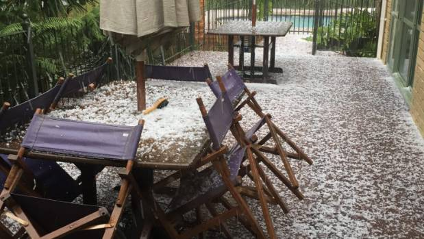 Hail in Wattle Downs left an impressive coating on one resident's deck.