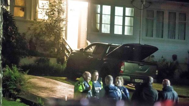 Police and ambulance staff at a crime scene at 10 Cassino Terrace in Mt Albert where they were searching for fugitive ...