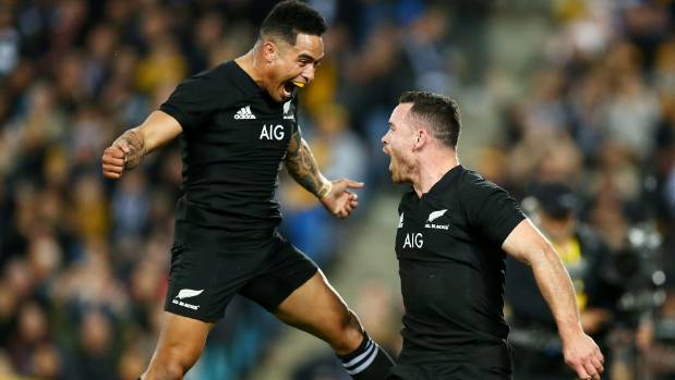 Aaron Smith at last had something to celebrate this week when the All Blacks thumped the Wallabies in Bledisloe I in Sydney.
