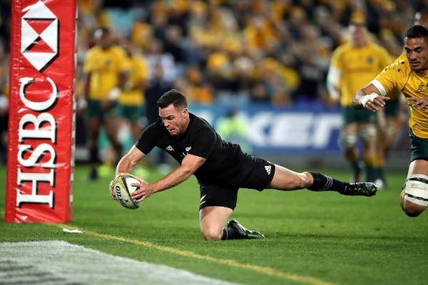 Ryan Crotty dives over to score for the All Blacks.