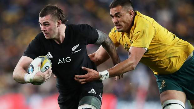 Liam Squire on a charging run against the Wallabies.