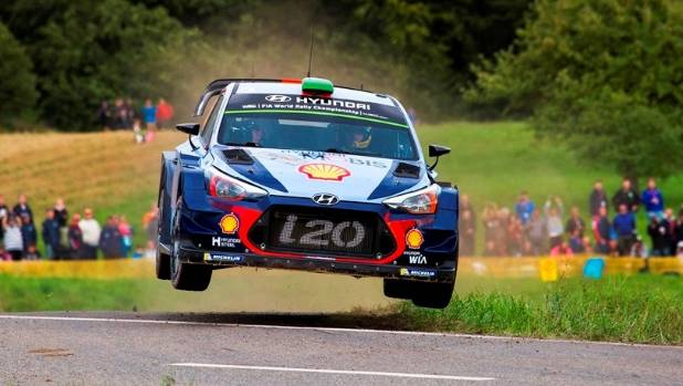 New Zealand driver Hayden Paddon in action at the Rally Deutschland in Germany.