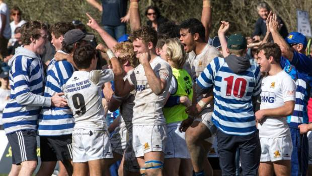 Timaru Boys' High School First XV celebrate with fans after making their first UC Championship final.
