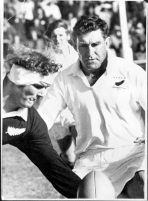 The All Black veteran at a farewell match in 1973.